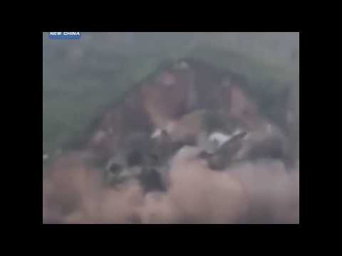 Stunning footage: Chunk of mountain blasted away after landslide