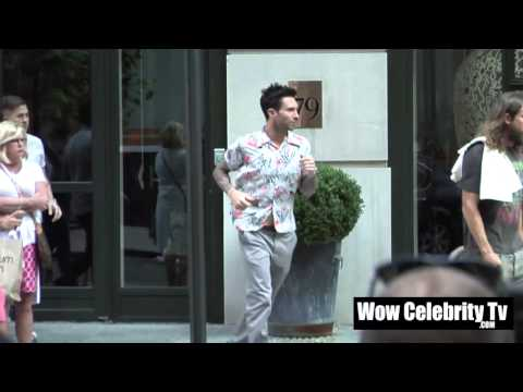 Adam Levine spotted running out of his hotel in New York City
