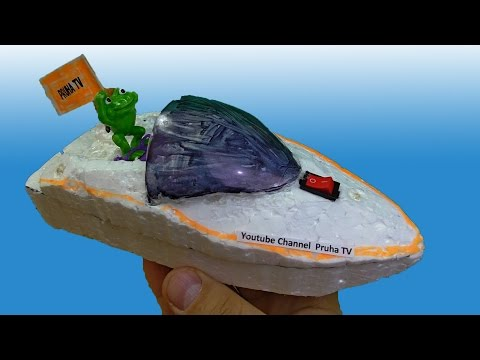 Amazing homemade boat with DC motor.