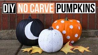 3 DIY No Carve Pumpkin Ideas | DIY Moon Pumpkin, Paint Splatter Pumpkin, & Polka Dot Pumpkin