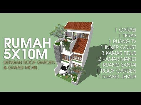 Download Lagu DESAIN RUMAH 5x10m DENGAN ROOF GARDEN DAN CARPORT MP3 Free