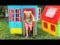 Roma and Diana Pretend Play with Playhouse for kid
