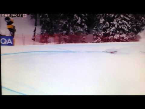 Schladming 2013 Ski-WM Yuri Danilochkin downhill crash + trainer's reaction
