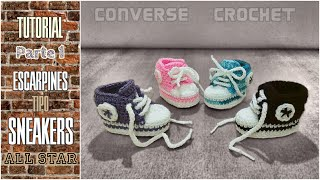 Sneakers para bebé a crochet (tipo Converse All Star) 1/3