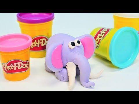 Knete Ideen für Kinder auf Deutsch. Elefant aus Play Doh. Basteln für Kinder.