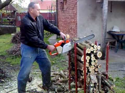 Cutting Trees On Stand With Stihl Chainsaw video
