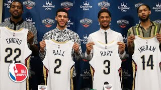 Lonzo Ball, Brandon Ingram, Josh Hart and Derrick Favors introduced by the Pelicans | NBA on ESPN