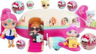 LOL Surprise Dolls + Lil Sisters on Lil Woodzeez Plane