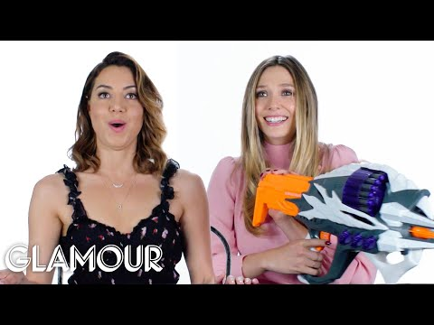 Aubrey Plaza and Elizabeth Olsen Review Kids Toys | Glamour