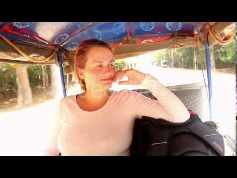 Woman Riding in Tuk Tuk Asia Region