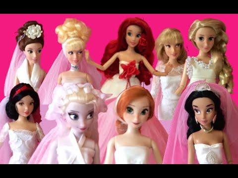 Princesas de Disney Colección de Vestidos de Novia - 9 Muñecas Novias - Nuevo 2014