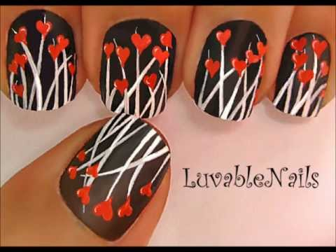 Tiny Red Hearts nail art