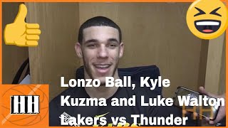Kyle Kuzma, Lonzo Ball and Luke Walton Lakers vs Thunder   Hoop Highlights