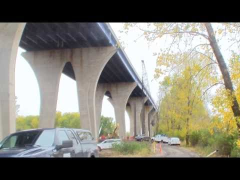 The I-43 Leo Frigo Bridge Repair Project in Green Bay, Wisconsin, Oct. 31, 2013. East stabilization tower truss delivered, set in place, and east stabilizati...