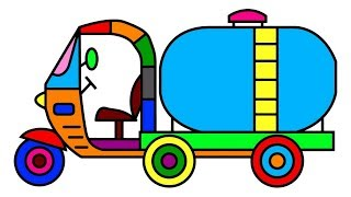 Auto Rickshaw Tuk Tuk Oil Truck Coloring Pages for Kids with Vehicles Video - MIHU TV