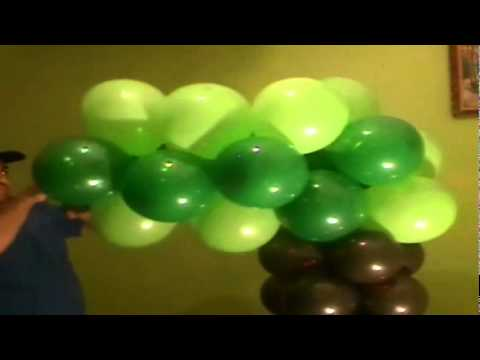 Decoracion con globos como hacer un arbol youtube for Como hacer decoracion con globos