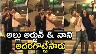 "Allu Arjun and Nani Singing Song For wife""s Sneha and Anjana On Stage 