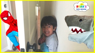 Hide N Seek Compilation Family Fun Chase Playtime with Spiderman and Pet Shark Attack kids Toys