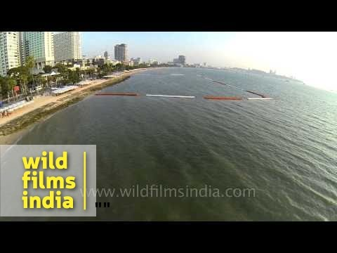 Aerial footage of Pattaya beaches in Thailand