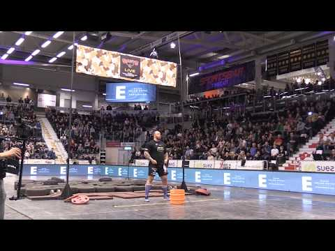 Hafþór Björnsson aka 'The Mountain' from Game of Thrones  does World Record Keg Toss