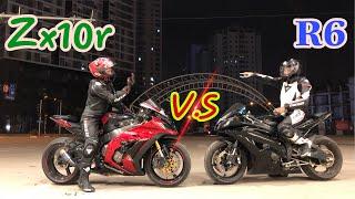 Yamaha R6 Thách Thức Kawasaki ZX10r và cái kết. | (Yamaha R6 vs Kawasaki Zx10r)