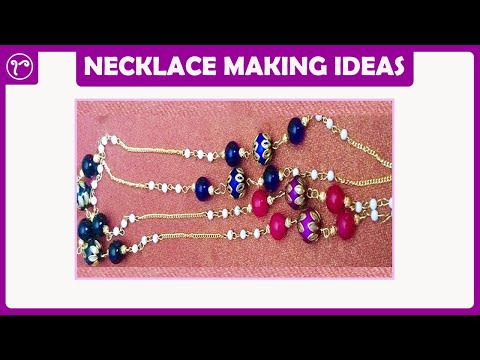 How to make Beaded Chain Long Necklace | Jewelry making at home | Necklace Making Tutorial