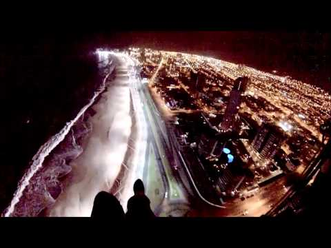 Urban Paragliding NIGHT FLIGHT Over A Big City (GoPro Hero 3)