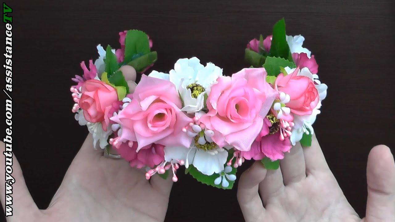 Ободок с искусственными цветами своими руками 242