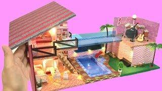 2 DIY MINIATURE DOLLHOUSE MANSION~BARBIE ROCKSTAR PrINCESS DOLLHOUSE with POOL Barbie Decor