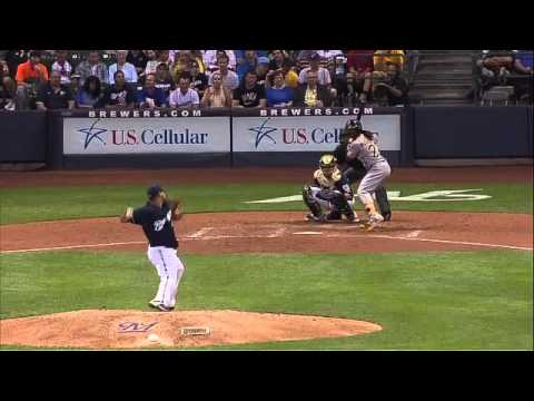 Peralta purposely hits Justin Morneau after Andrew McCutchen's 100th Homerun