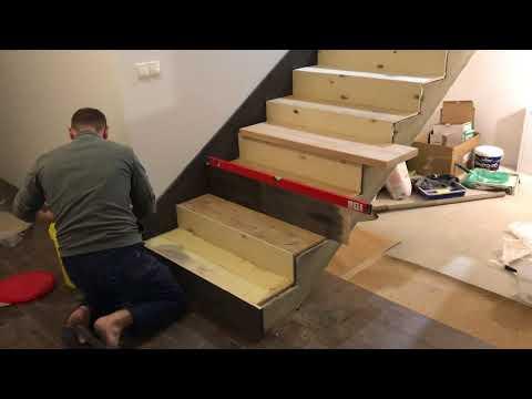 Лестница на бетоне.Как поклееть фанеру и ступенеки.