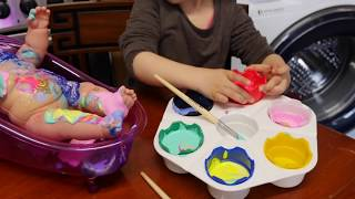 Baby Doll Colours Slime Paint Time/ Learn Colors Clay Slime / Baby Bath