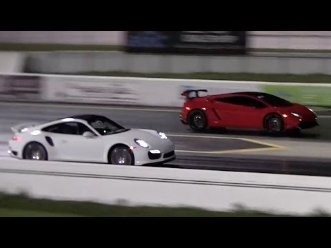 Lamborghini Gallardo LP570-4 Super Trofeo Stradale vs 2013 Porsche 991 Turbo Drag Racing 1/4 Mile