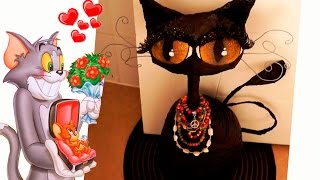 Haz un hermoso gato decorativo con Botella. RECICLAJE. Halloween - Gato negro. DIY. cat lovers