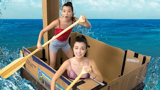 WE MADE A GIANT CARDBOARD BOX BOAT - Merrell Twins