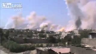Syria - Sick Footage of over 50 rockets falling in Jobar, Damascus