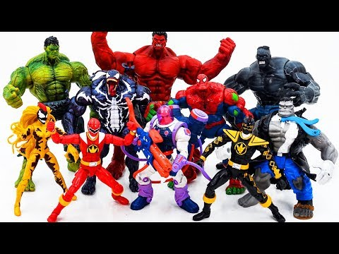 Power Rangers & Marvel Avengers Toys Pretend Play | HULK vs RED HULK Superhero Toy Battle