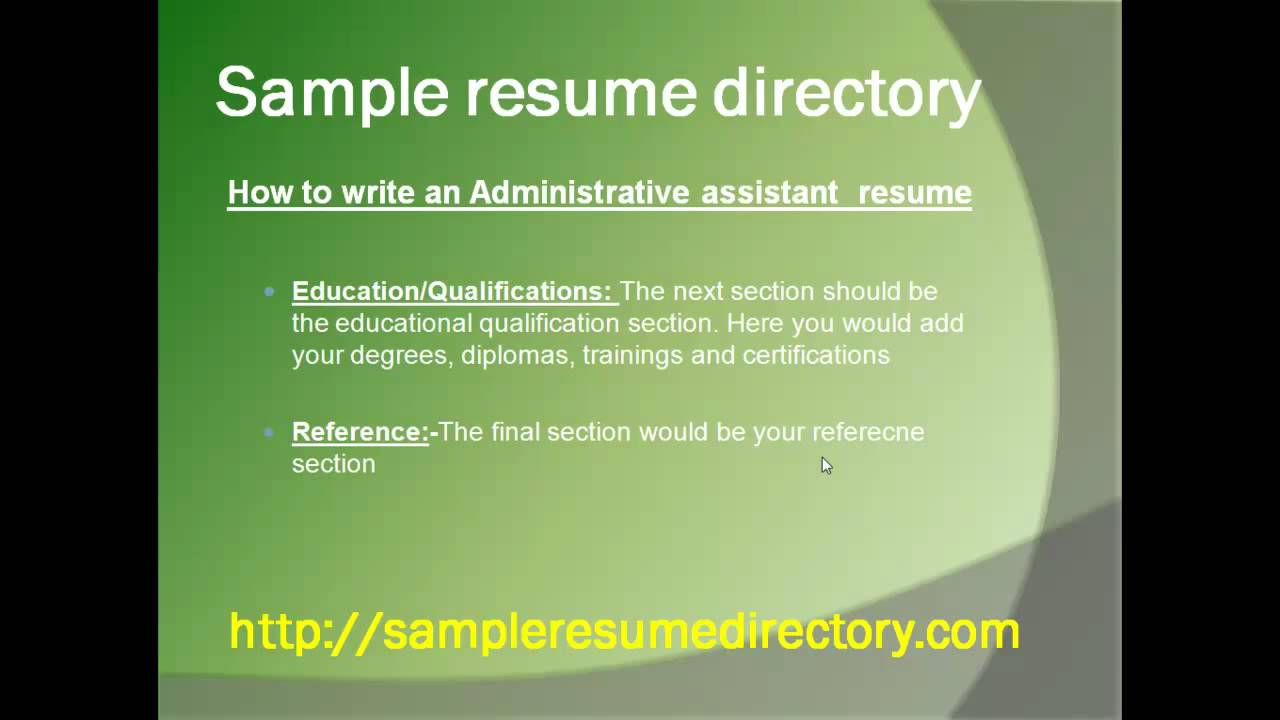 Sample Resume how to write administrative assistant resume