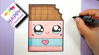 HOW TO DRAW CUTE CHOCOLATE BAR WITH A LOVE HEART - SUPER EASY