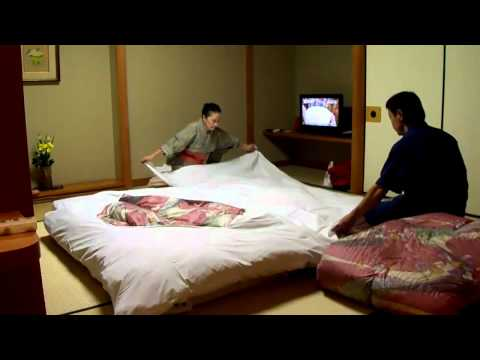 Futon setup by the pros at Japanese hotel (onsen ryokan)