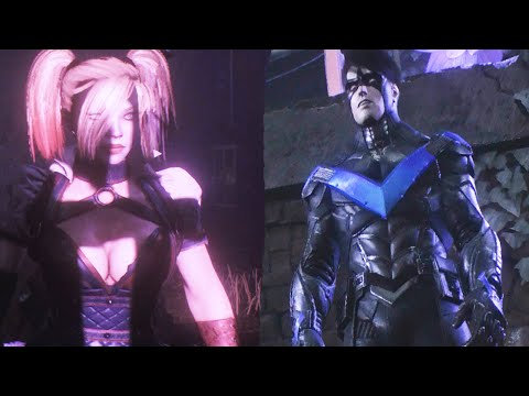 Batman Arkham Knight Harley Quinn Vs. Nightwing Boss Fight (Battle Scene)