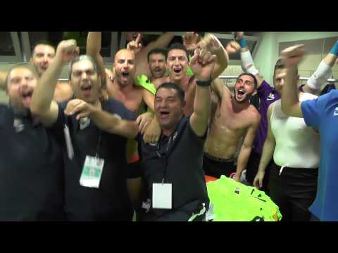 Dressing Room Celebrations after UEFA Futsal Cup 2015/16 win vs FC Encamp