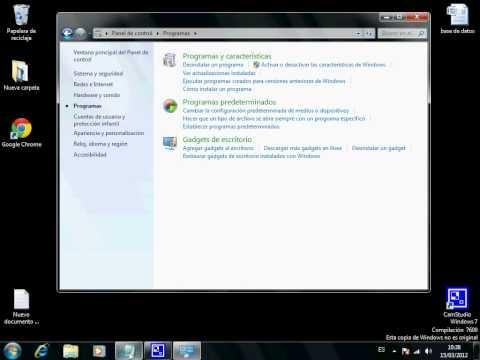 activar o desactivar caracteristicas de windows7