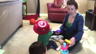Twins play building blocks with mom 41816