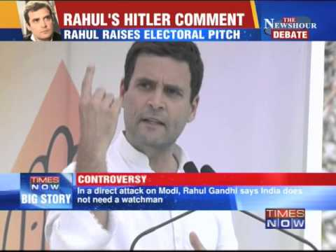 Rahul Gandhi raises electoral pitch, comparing Narendra Modi with Adolf Hitler
