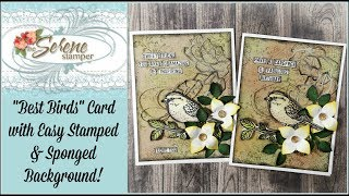 Best Birds Card with Stamped & Sponged Background