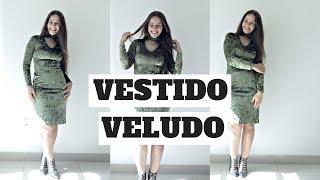 VESTIDO TUBINHO COM MANGA LONGA USANDO VELUDO MOLHADO - COSTURE COMIGO | ELLEN BORGES