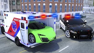 Ambulance Repair Tyre - Sergeant Lucas the Police Car Call Water Tank - Wheel City Heroes Cartoon