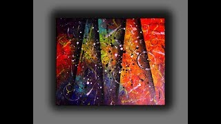 Colorful Abstract Painting / Fun With Acrylics / Creating Textured Surface With Random Tools