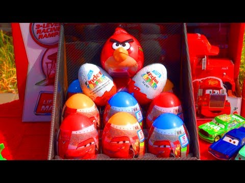12 Surprise Eggs Unboxing Cars 2 Eggs Kinder Surprise Angry Birds Easter Eggs Disney Pixar Toys
